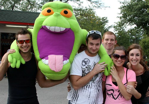 Slimer is the big, slimey prize at Ring Toss this fall
