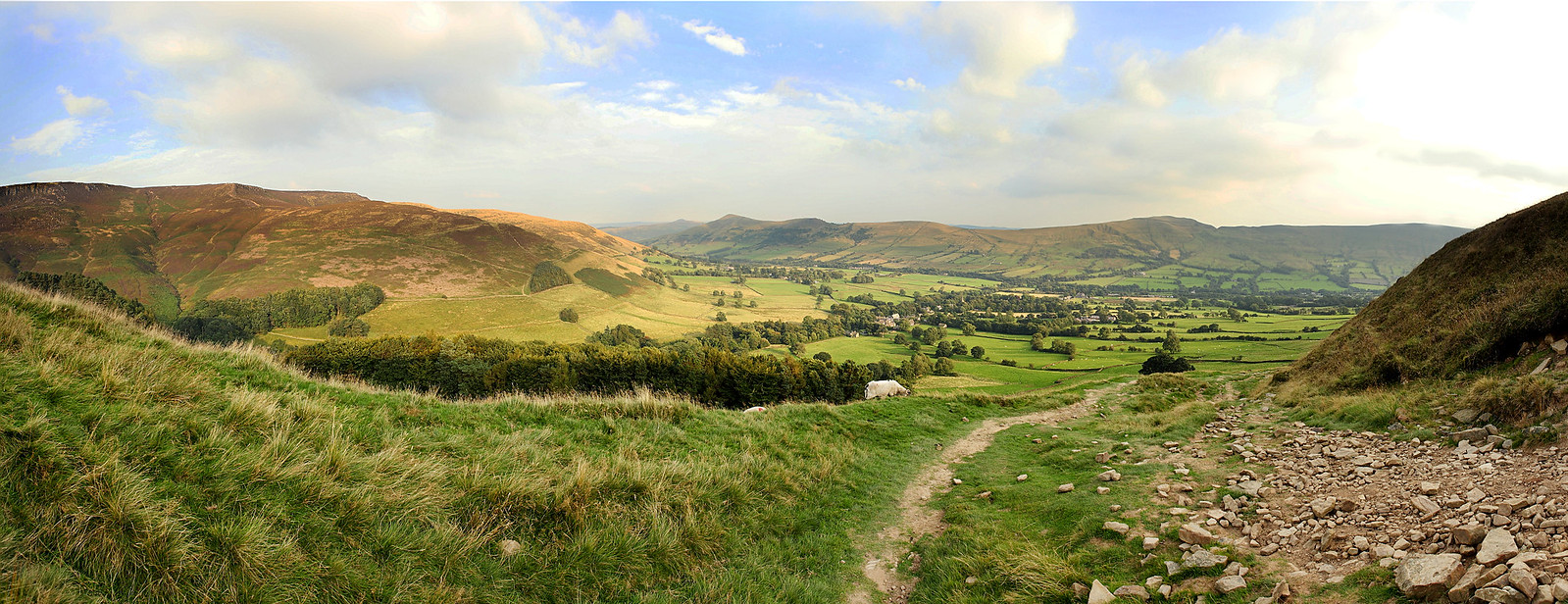 a panorama from grindslow knoll in the peak district