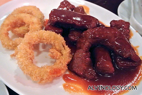 Onion rings and  pork ribs