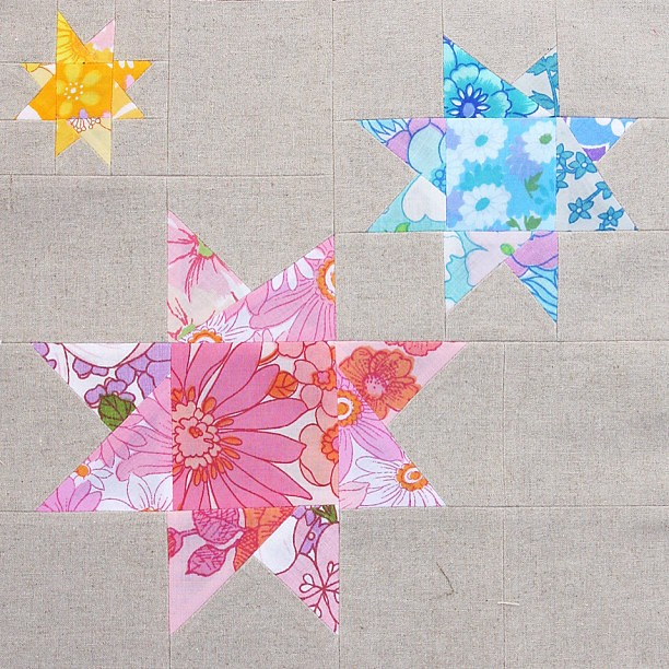 First quilt block #vintagesheet #wonkystar #patchwork #quilt #sewing #craft #star