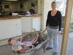 Kata gives the kids a wheelbarrow ride