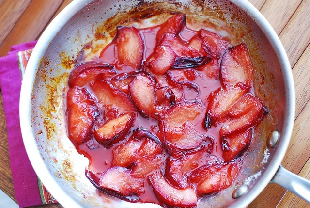 plums cooking in butter and sugar