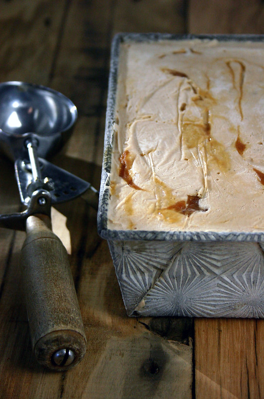 toasted oak ice cream with smoked sea salt & lapsang souchong caramel swirl