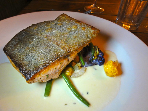 Pan fried trout w cauliflower purée.
