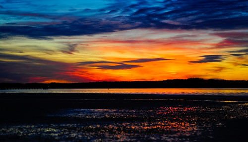 ocean blue sunset sky orange shells beach water colors night clouds sand nikon lowtide nikond90