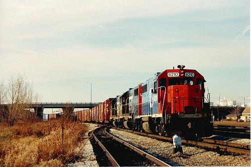 Eastbound Grand Trunk Western freight train waiting for clearance to depart from Clearing Yard.  Chicago Illinois.  December 1988. by Eddie from Chicago