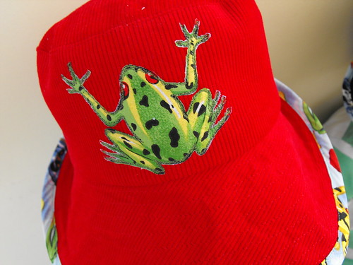 Frog detail - red hat