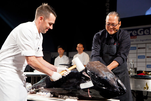 Chef Masaharu Morimoto's demonstration on breaking down a whole 224-pound farm raised Big Eye tuna