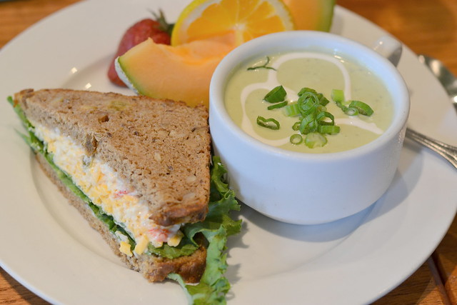 Pimento & cheese sandwich with avacado soup