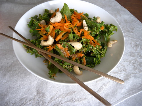 miso peanut dressing on kale salad