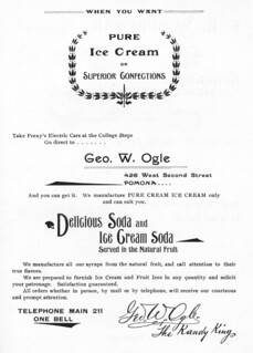 "Ad from the 1897 Metate featuring a Pomona ice cream shop accessible by ""Prexy's Electric Cars"""