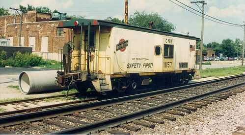 Chicago & NorthWestern Railroad bay window caboose.  Elmhurst Illinois.  August 1988. by Eddie from Chicago