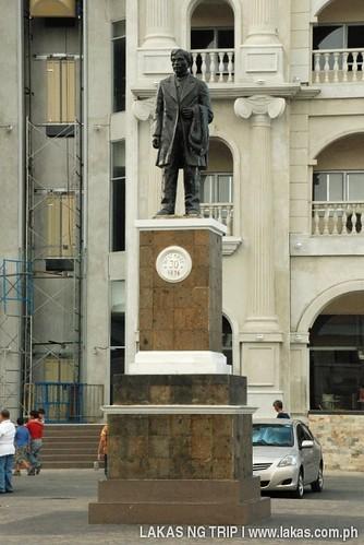 Jose Rizal statue across the street at the front of the Church of Balanga, Bataan