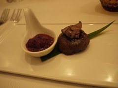 foie gras stuffed galawat, strawberry green chilli chutney