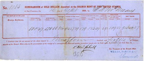 San Francisco Mint deposit slip 1855