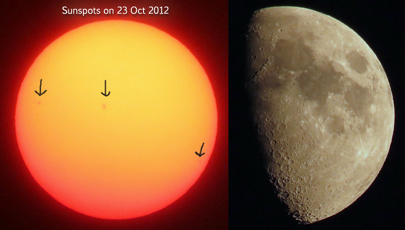 Sunspots and Moon