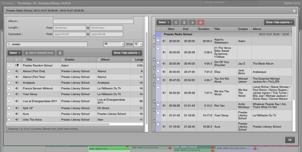 Add tracks, playlists, stream rebroadcasts and Smart Blocks direct to a show