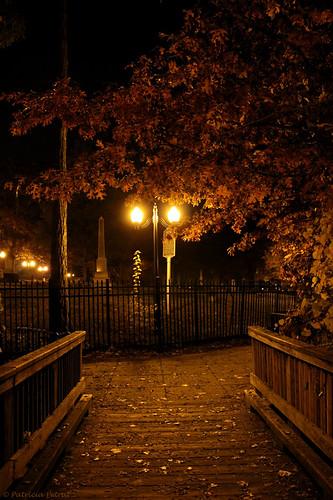 autumn night lights brighton michigan boardwalk