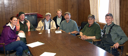 (L-R): USDA's Tasha Deardorff, Roger Fuiten, Alaska State Director Jim Nordlund, and Matt Dixon of ANTHC, join Toksook Bay's City Administrator Paul Chimiugak and Mayor Larry John and Shad Schoppert to discuss community water quality issues. Photo courtesy of Larry Yerich, USDA