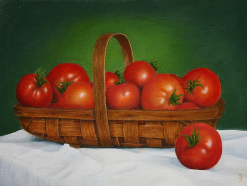 Basket of Tomatoes by Sid's art