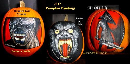 Pumpkin Paintings Nemesis, Werewolf, Silent Hill by Denise A. Wells