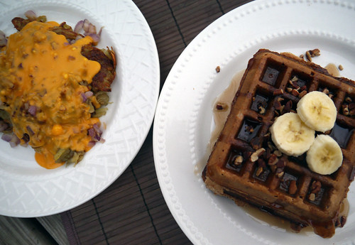 Maple Pecan Waffles with Smothered, Covered Hashbrowns (inspired by the Waffle House) (0055)