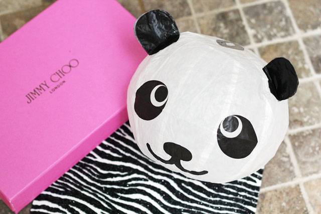 Rob Pruitt for Jimmy Choo blow up panda invite