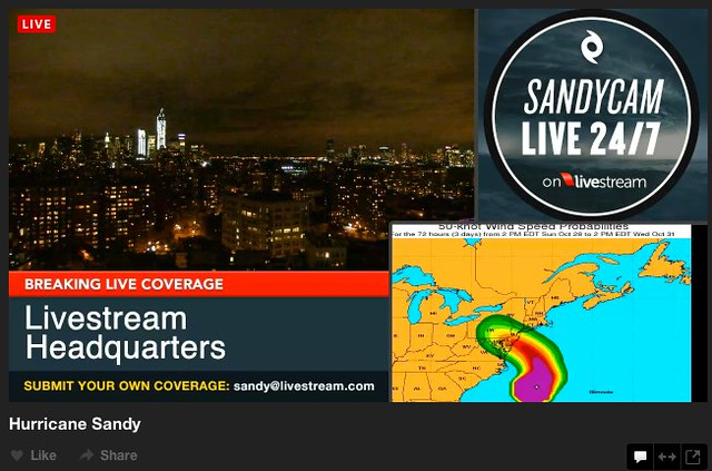 Sandycam - Hurricane Sandy Live 24/7 on Livestream
