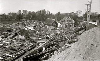 La destrucción tras el Gran Huracán de Nueva Inglaterra (Jamestown, 1938)