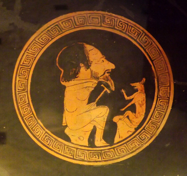 Detail of a Kylix by the Painter of Bologna 147 with Aesop and the Fox in the Vatican Museum, July 2012
