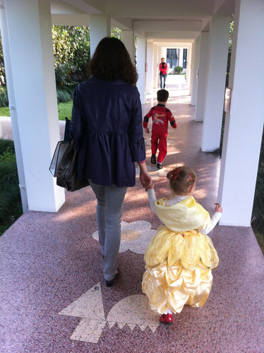 Scott and Elaine walking to class in their Halloween costumes