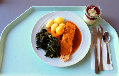 Pochierter Lachs mit Blattspinat in Estragonsauce / Poached salmon with leaf spinach in estragon sauce
