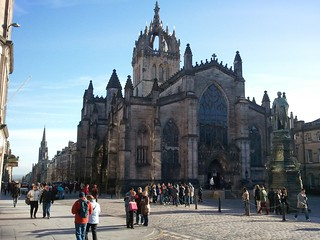 St Giles Cathedral, dominating this section of the Royal Mile