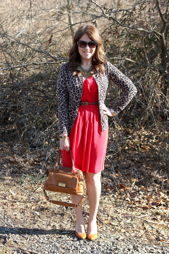 animal print cardigan red dress work outfit