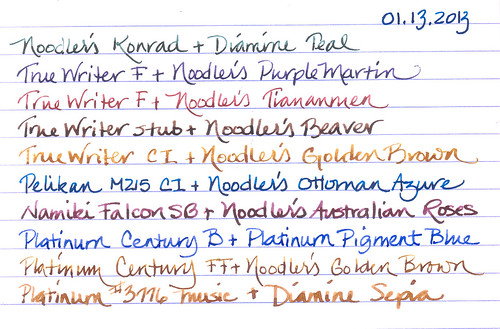 Ink and Pen Rotation for 01-13-2013  by inkophile