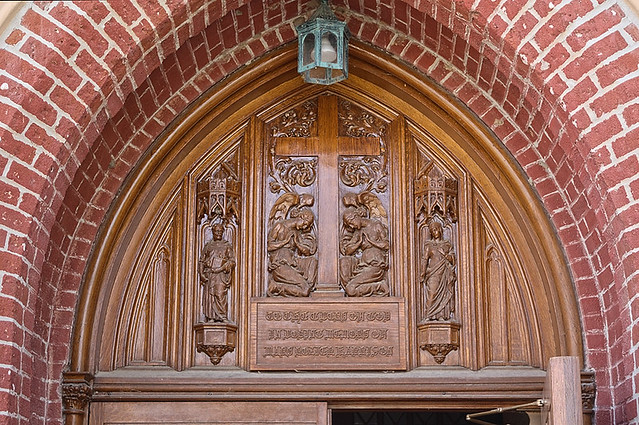 Old Saint Vincent Catholic Church, in Cape Girardeau, Missouri, USA - tympanum above front door