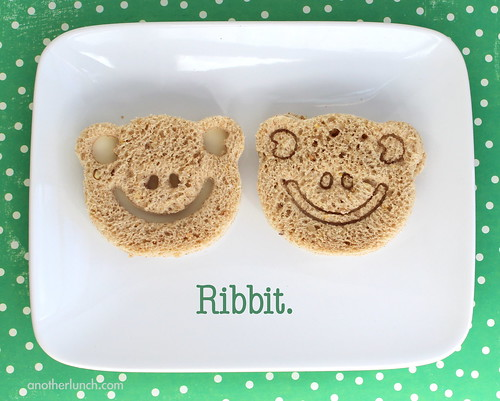 Ribbit frog face sandwiches