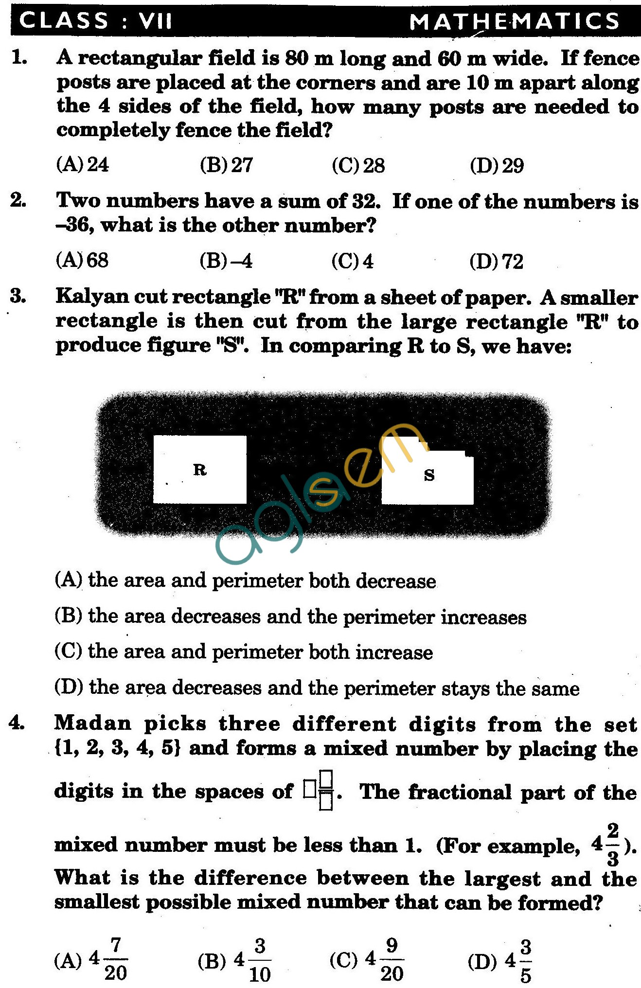 NSTSE 2009 Class VII Question Paper with Answers - Mathematics