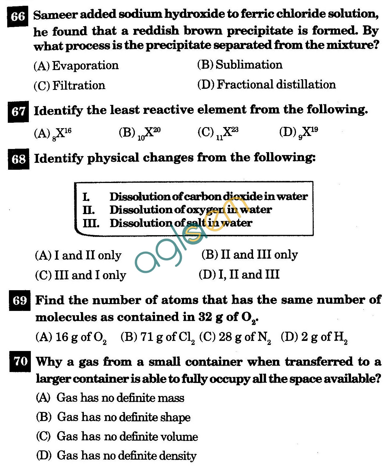 NSTSE 2011 Class IX Question Paper with Answers - Chemistry