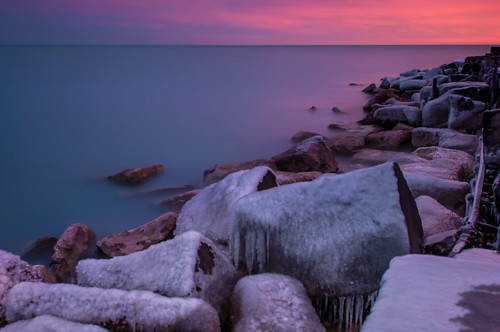 park blue lake cold ice water sunrise point dawn frozen nikon rocks long exposure michigan hyde hour nd nikkor pinks density promontory neutral 2470 d90 10stop