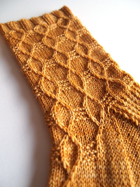 Hex socks made with Wandering Cat Yarns Alley Cat BFL-English Toffee-