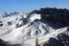 alps, mountain, winter, piste, snow, mountain range, cirque, summit, ridge, arãªte, massif, mountainous landforms,