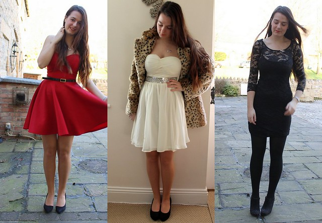 Chiara Fashion - red strapless dress, white strapless sequin dress, black lace dress