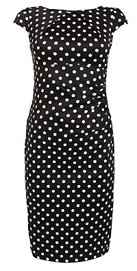 Black Polka Dot Open Back Midi Dress