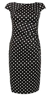 Black Polka Dot Open Back Midi Dress
