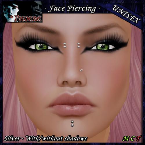 P Unisex Face Piercing Q2 ~Silver~