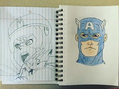 My kids can draw! Hannah drew Speed Racer and Poke drew Captain America.