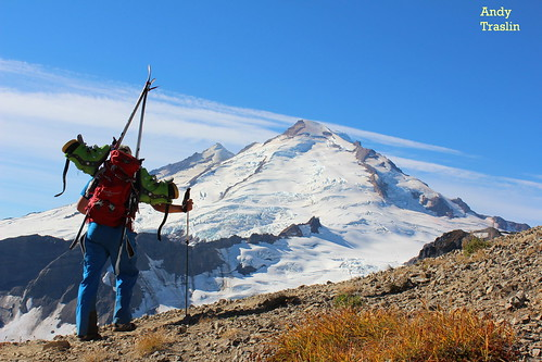 The trail towards Sholes Glacier... Park Headwall Mt Baker.... photo Andy Traslin.... skier Mike Traslin.