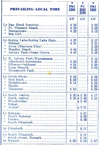 North Jersey Coast 1971 Schedule