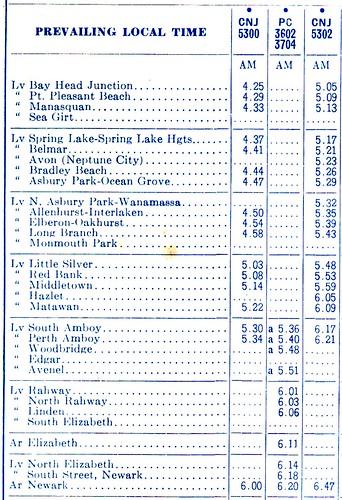 North Jersey Coast 1971 Schedule